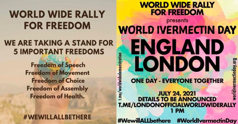 TAKE ACTION: Join the WorldWideRally for Freedom and World Ivermectin Day on July 24th