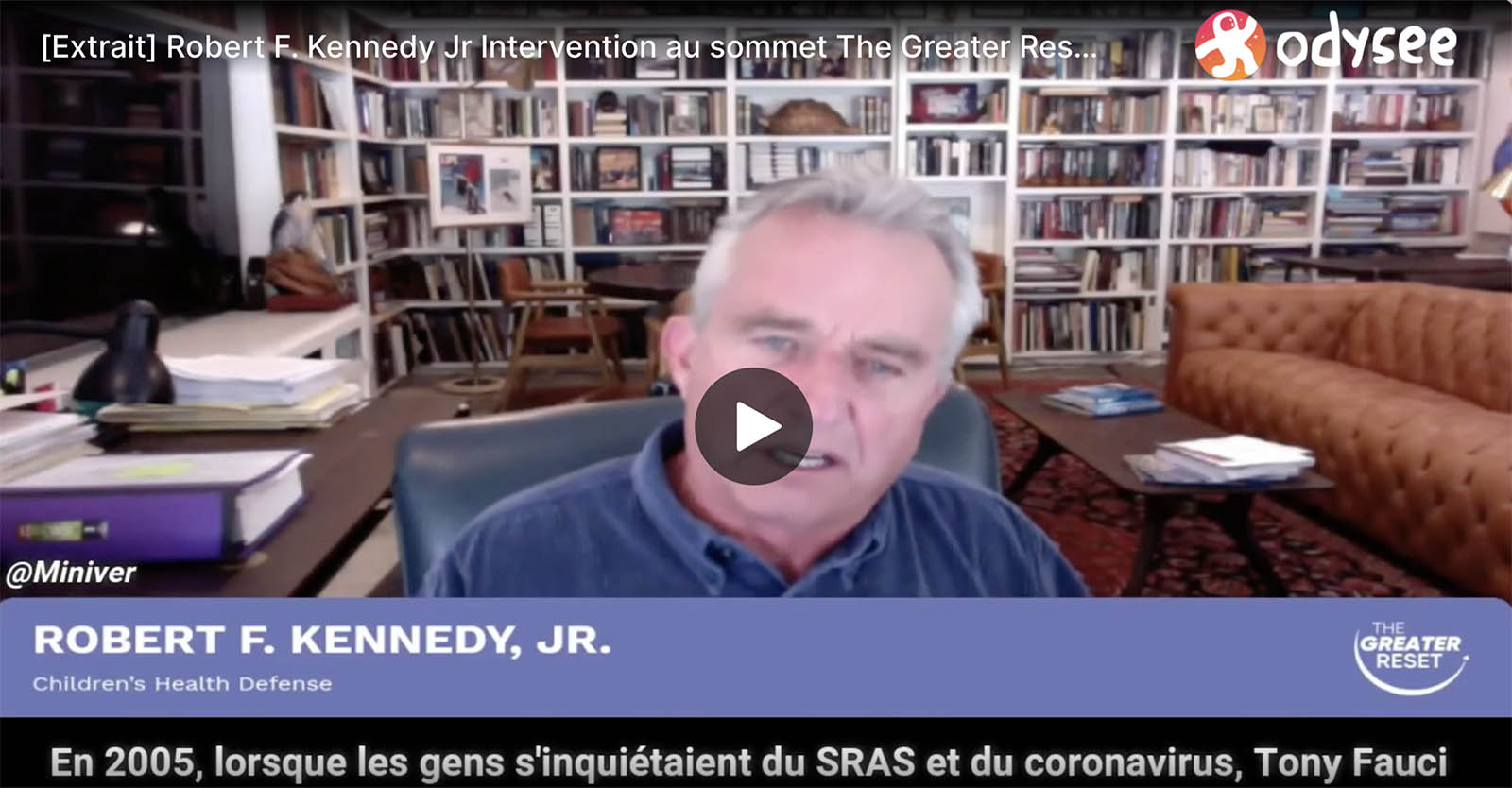 Intervention de Robert F. Kennedy, Jr. au sommet The Greater Reset – 24 mai 2021 [Extrait sous-titré]